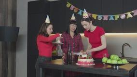 Радостная женщина кладя куски пирога на плиты сток-видео