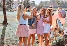 Радостные подруги сфотографированы совместно на партии пикника внешней Сцена праздновать день рождения на внешнем стоковые изображения