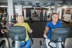 Радостные старшие люди тренируя на лестнице stepper на спортзале Стоковая Фотография RF