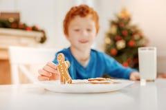 Радостный мальчик имбиря играя с человеком пряника на таблице Стоковая Фотография RF