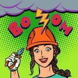 Радостный профессионал электрика женщины, забастовка без предупреждения, искра e иллюстрация вектора