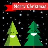 2 радостных рождественской елки изолированной на черной предпосылке Счастливый бесплатная иллюстрация