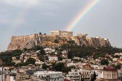 Радуга акрополя Афиныы стоковые фотографии rf