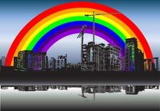 радуга города Иллюстрация вектора