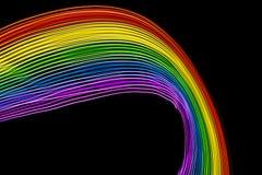 Радуга живых цветов на черных кривых Космос, который нужно написать стоковая фотография