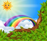 Радуга над лесом иллюстрация штока