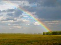 Радуга над полем пожелтетым осенью стоковое фото