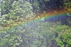 Радуга отразила на фонтане на солнечный день Стоковое фото RF