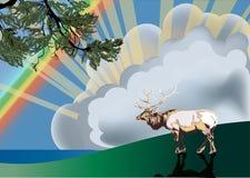 радуга пущи оленей вниз иллюстрация вектора