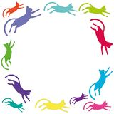 Square frame with colorful flying cats. stock illustration