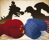 Разбивать и дракон перчаток против орла символизируя торговую войну, иллюстрацию вектора бесплатная иллюстрация