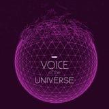 Разбивая фиолетовая сфера космоса Абстрактная предпосылка вектора с крошечными звездами Зарево солнца от дна Стоковые Изображения RF