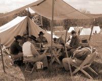 "Разбивка лагеря взбунтованного Reenactors на ""Battle  Liberty†- Бедфорда, Вирджинии Стоковая Фотография"