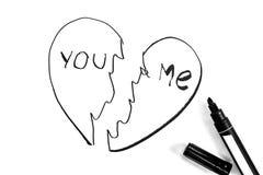 Разбитый сердце покрашено с отметкой, черно-белым фото иллюстрация вектора