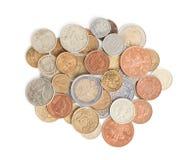 Разбрасывать золотые монетки серебра и Стоковые Фото