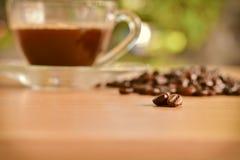 Разбросанные зажаренные в духовке кофейные зерна на деревянном столе и чашке coff стоковые фотографии rf