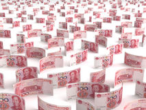 Разбросанные китайские юани Стоковое Фото
