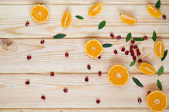 разбросанные семена и tangerines гранатового дерева Стоковое Фото