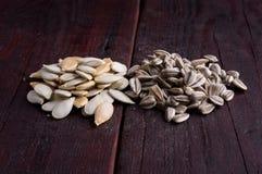 Разбросанные тыква и семена подсолнуха Стоковая Фотография