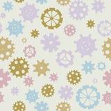 Разбросанные цепн-колеса, шестерня silhouettes безшовная картина, пастельные цвета Дизайн ` s детей Безшовный отрезок g силуэта к Стоковая Фотография RF
