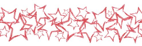 Разбросанные sequins в форме звезды Безшовная граница с красной звездой яркого блеска Стоковая Фотография RF