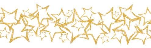 Разбросанные sequins в форме звезды Безшовная граница с звездой яркого блеска иллюстрация вектора