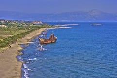 Развалина Gythion корабля стоковые фотографии rf