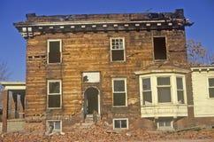 Разваленное здание в Детройте, трущоба MI Стоковая Фотография RF
