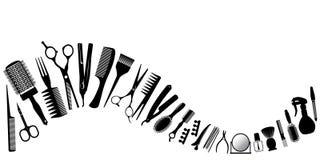 Развевайте от силуэтов инструментов для парикмахера иллюстрация штока