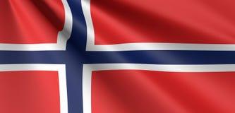 Развевать флага Норвегии иллюстрация штока