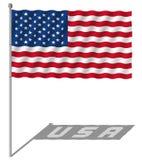 Развевать флага США Стоковая Фотография