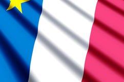 Развевать Acadia красочные и иллюстрация флага крупного плана иллюстрация штока