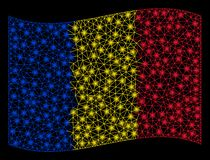 Развевая иллюстрация сетки флага Румынии с внезапным влиянием иллюстрация штока
