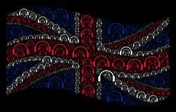 Развевая картина флага Великобритании значков наушников бесплатная иллюстрация