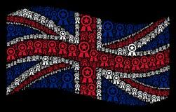 Развевая картина флага Великобритании значков уплотнения сертификата иллюстрация вектора