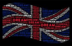 Развевая картина флага Великобритании мечт слов бесплатная иллюстрация