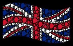 Развевая коллаж флага Великобритании деталей Lier иллюстрация штока
