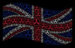 Развевая коллаж флага Великобритании значков химической войны агента нервно-паралитического действия WMD бесплатная иллюстрация
