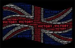 Развевая коллаж флага Великобритании текстов победы иллюстрация вектора