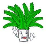 Развевая красивые папоротники шаржа в зеленой листве иллюстрация штока
