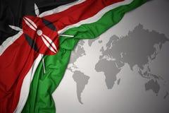Развевая красочный национальный флаг Кении иллюстрация вектора