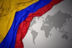 Развевая красочный национальный флаг Колумбии Стоковое Изображение RF