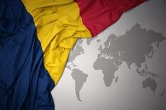 Развевая красочный национальный флаг Чада Стоковое Изображение RF