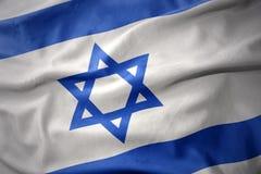 Развевая красочный флаг Израиля Стоковая Фотография