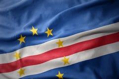 Развевая красочный флаг Кабо-Верде Стоковое Изображение