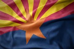 Развевая красочный флаг положения Аризоны стоковое изображение rf