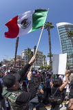 Развевая мексиканский флаг на протесте анти--козыря Стоковые Изображения RF