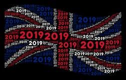 Развевая мозаика флага Великобритании деталей текста 2019 год иллюстрация штока