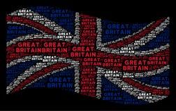 Развевая мозаика флага Великобритании деталей текста Великобритании иллюстрация штока