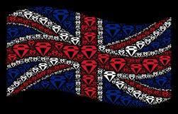 Развевая мозаика флага Великобритании значков диаманта иллюстрация вектора